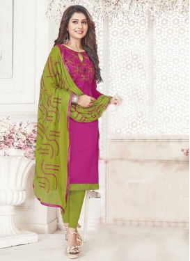 Cotton Olive and Rose Pink Embroidered Work Trendy Straight Salwar Kameez