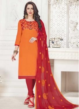 Cotton Orange and Red Embroidered Work Trendy Churidar Salwar Kameez