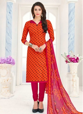 Cotton Orange and Rose Pink Print Work Trendy Churidar Salwar Kameez