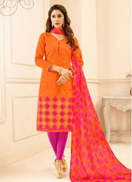 Cotton Orange and Rose Pink Trendy Churidar Salwar Kameez
