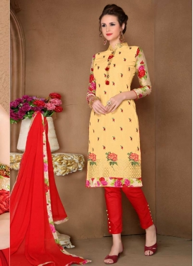 Cotton Red and Yellow Embroidered Work Pant Style Classic Suit