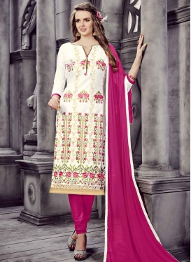 Cotton Rose Pink and White Churidar Salwar Suit