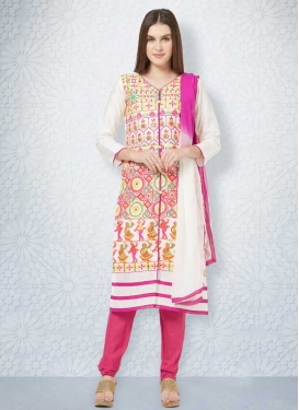 Cotton Rose Pink and White Embroidered Work Trendy Straight Salwar Suit