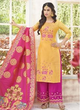 Cotton Satin Aari Work Designer Palazzo Salwar Kameez