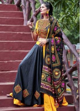 Cotton Satin Black and Orange Embroidered Work Designer Classic Lehenga Choli