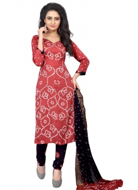 Cotton Satin Black and Salmon Churidar Punjabi Suit