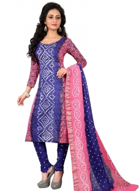 Cotton Satin Blue and Pink Punjabi Churidar Salwar Suit