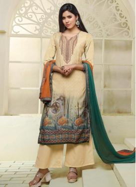 Cotton Satin Cream and Green Embroidered Work Palazzo Style Pakistani Salwar Kameez