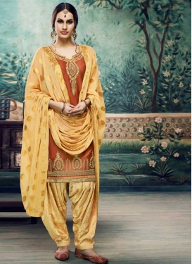 Cotton Satin Cream and Peach Trendy Patiala Salwar Suit