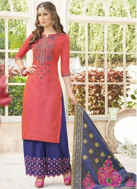 Cotton Satin Designer Palazzo Salwar Suit