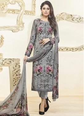 Cotton Satin Digital Print Work Pant Style Pakistani Suit