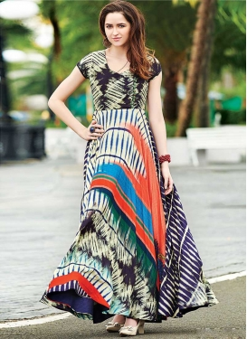 Cotton Satin Digital Print Work Readymade Designer Gown
