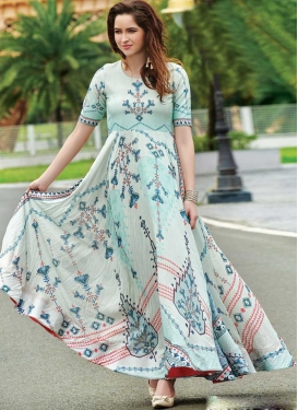 Cotton Satin Digital Print Work Readymade Floor Length Gown