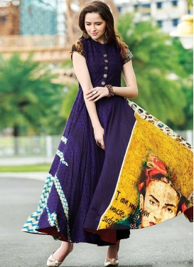 Cotton Satin Digital Print Work Readymade Trendy Gown