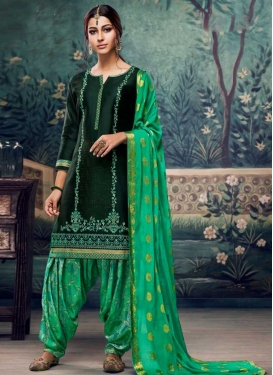 Cotton Satin Embroidered Work Designer Semi Patiala Suit