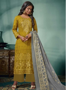Cotton Satin Embroidered Work Palazzo Style Pakistani Salwar Kameez