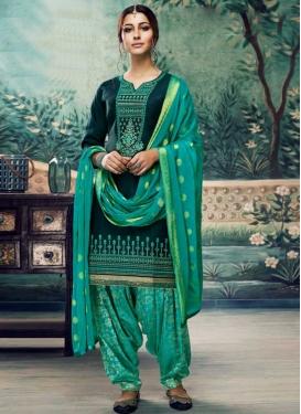 Cotton Satin Embroidered Work Semi Patiala Salwar Suit