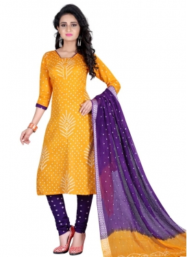 Cotton Satin Gold and Purple Punjabi Churidar Salwar Suit