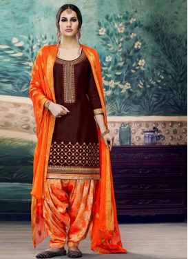 Cotton Satin Maroon and Orange Patiala Salwar Suit