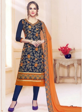 Cotton Satin Navy Blue and Orange Embroidered Work Trendy Churidar Salwar Kameez