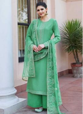 Cotton Satin Palazzo Style Pakistani Salwar Suit