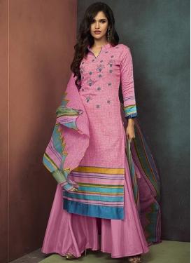 Cotton Satin Palazzo Style Pakistani Salwar Suit For Ceremonial