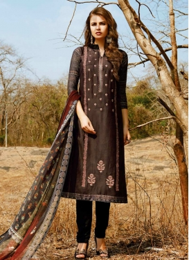 Cotton Satin Pant Style Pakistani Salwar Suit For Ceremonial