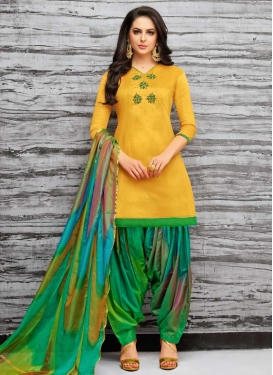 Cotton Satin Patiala Salwar Kameez