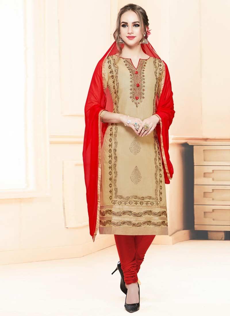 Cotton Satin Trendy Churidar Salwar Suit For Ceremonial