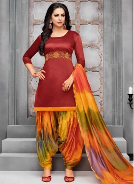 Cotton Satin Trendy Patiala Salwar Suit For Ceremonial