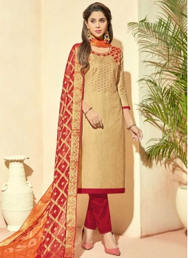 Cotton Silk Beige and Red Pant Style Straight Salwar Kameez