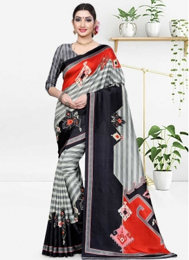 Cotton Silk Black and Grey Classic Saree