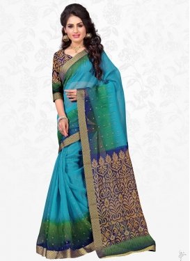 Cotton Silk Blue and Green Classic Saree For Casual