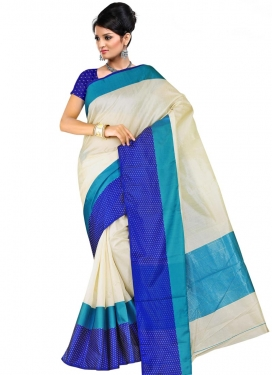 Cotton Silk Blue and Off White Traditional Saree For Festival