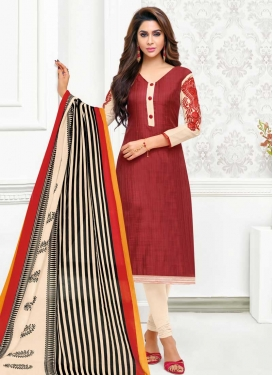 Cotton Silk Cream and Crimson Embroidered Work Trendy Churidar Salwar Kameez