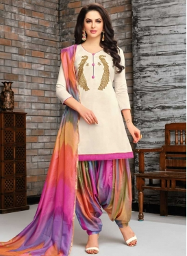 Cotton Silk Designer Patiala Suit For Festival