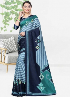 Cotton Silk Digital Print Work Contemporary Saree