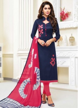 Cotton Silk Embroidered Work Churidar Salwar Kameez