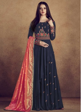 Cotton Silk Embroidered Work Layered Designer Gown