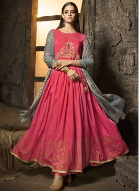 Cotton Silk Embroidered Work Palazzo Designer Salwar Kameez