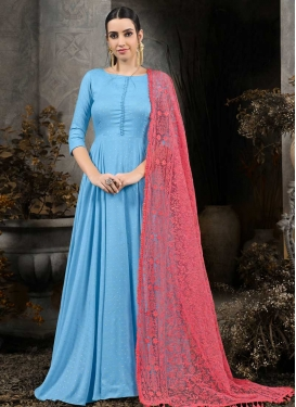 Cotton Silk Embroidered Work Readymade Classic Gown