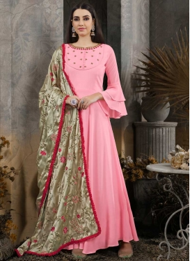 Cotton Silk Embroidered Work Readymade Designer Gown