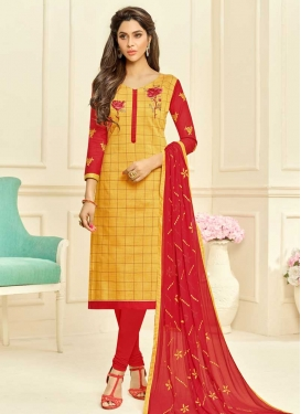 Cotton Silk Embroidered Work Trendy Churidar Salwar Suit