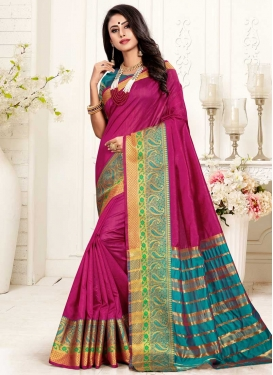 Cotton Silk Fuchsia and Teal Designer Contemporary Saree