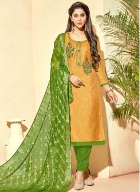Cotton Silk Gold and Green Embroidered Work Pant Style Salwar Kameez