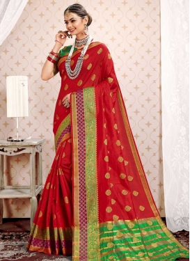 Cotton Silk Green and Red Classic Saree For Ceremonial