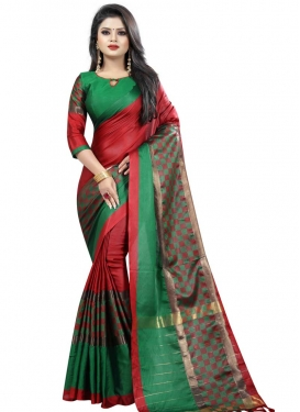 Cotton Silk Green and Red Thread Work Contemporary Style Saree