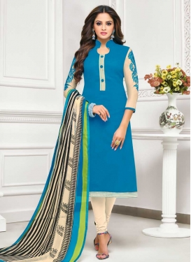Cotton Silk Light Blue and Off White Embroidered Work Trendy Churidar Salwar Kameez
