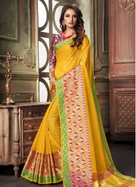 Cotton Silk Magenta and Mustard Thread Work Classic Saree