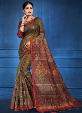 Cotton Silk Maroon and Olive Digital Print Work Traditional Designer Saree